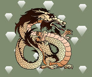 Strong beige earth Asian dragon against diamonds Royalty Free Stock Photography