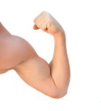 Strong bicep. Close-up, isolated over white Stock Photo