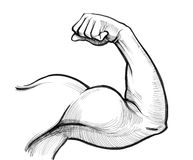 Strong biceps. Ink drawing of a strong arm Royalty Free Stock Photo