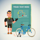 Strong bicycle man with present board. Map introduction. Character design - vector illustration. Strong bicycle man with present board. Map introduction Stock Image