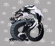 Strong black Asian dragon on snowflakes. Strong black water Asian chinese dragon on snowflakes grey background Royalty Free Stock Photography