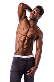 Strong black athletic young man Royalty Free Stock Image