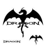 Strong black dragon in flight. Stock Photo