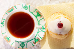 Strong Black Tea and Cheese Cake Royalty Free Stock Photo