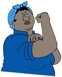 Strong black woman flexing her muscle. Illustration of a strong black woman wearing a headscarf flexing her bicep Stock Images
