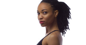 Strong black woman looking at camera Stock Photo