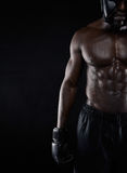 Strong body of african male boxer Stock Photography