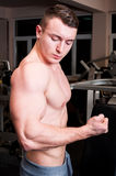 Strong body builder flexing the biceps Royalty Free Stock Photo