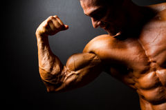Strong bodybuilder. Posing on black background royalty free stock images