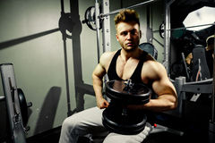 Strong bodybuilder athlete with heavy  dumbbells in gym Royalty Free Stock Images