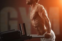 Strong bodybuilder doing exercise on bars Royalty Free Stock Image
