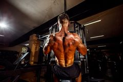 Strong Bodybuilder Doing Heavy Weight Exercise For Back. On Machine stock photo