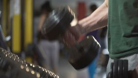 Strong bodybuilder lifting weights, exercising with heavy dumbbells, gym workout. Stock footage stock footage