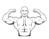 Strong bodybuilder man with perfect abs, shoulders Royalty Free Stock Photos