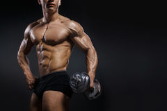 Strong bodybuilder with perfect abs, shoulders, biceps, triceps and chest. Handsome power athletic man with dumbbell stock photo