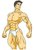 Strong bodybuilder posing. Isolated on a white.illustration Royalty Free Stock Image