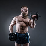 Strong bodybuilder with six pack, perfect abs, shoulders, biceps. Power athletic bearded man in training pumping up muscles with dumbbell. Strong bodybuilder stock photography