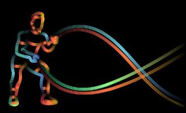 Strong bodybuilder sportsman man with battle rope doing exercise in functional training fitness gym. Flat Line Art Design stock illustration