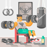 Strong bodybuilder sportsman Weightlifter doing bicep workout training arms with dumbbell Vector illustration. Strong bodybuilder sportsman Weightlifter doing Stock Photography
