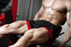 Strong bodybuilder training quads Stock Photography