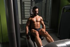 Strong Bodybuilder Training Quads stock images