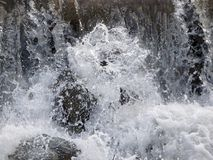Strong boiling of water under mountain waterfall, Royalty Free Stock Photography