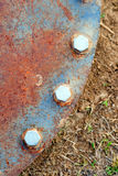 Strong Bolts Hold Rusted Manhole Cover Ground Level Dirt Royalty Free Stock Photo