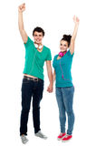 Strong bonding of cheerful teen couple enjoying Stock Image