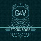 Strong booze label design template. Patterned vintage monogram with text on seamless pattern background.  stock illustration