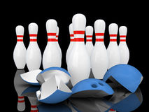 Strong bowling pins. Royalty Free Stock Photo