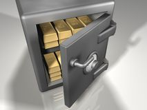 Strong box with gold. Safe box with gold - 3d render Royalty Free Stock Photography