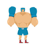 Strong Boxer in protective helmet. Athlete in rack before fight. Royalty Free Stock Photo