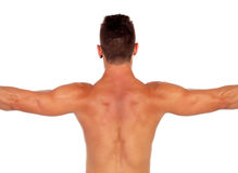 Strong boy showing his back muscles Stock Image