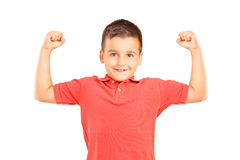 Strong boy showing muscles Stock Photos