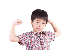 Strong boy showing muscles Royalty Free Stock Images
