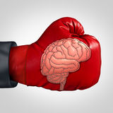 Strong Brain Activity. And training the mind to perform in intelligence and memory as a boxing glove with a patch shaped as the human thinking organ stitched Stock Images