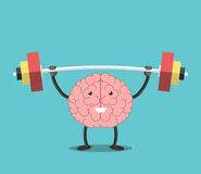 Strong brain with barbell. Strong powerful brain holding heavy barbell. Intelligence, mind, imagination, creativity, wisdom, knowledge and education concept. EPS Royalty Free Stock Photos