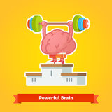 Strong brain takes first place on winning pedestal. Strong brain lifting weary barbell takes first place on the winning pedestal. Flat style vector icon Stock Photo
