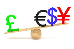 Strong British Pound: currencies on a wooden seesaw Royalty Free Stock Photography