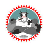 Strong Bull with glasses and with a cigar. Logo for Sports Club. Royalty Free Stock Photos