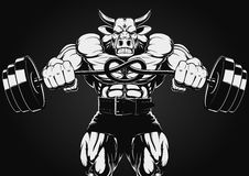 Strong bull. Vector illustration of a strong bull with a barbell Stock Photo
