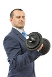 Strong business man with dumbbell. Isolated on a white background Stock Image