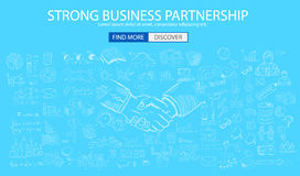 Strong Business Partnership concept wih Doodle design style Royalty Free Stock Photo