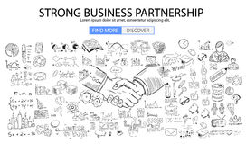 Strong Business Partnership concept wih Doodle design style. Finding solution, brainstorming, creative thinking. Modern style illustration for web banners Royalty Free Stock Photos