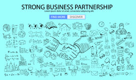 Strong Business Partnership concept wih Doodle design style. Finding solution, brainstorming, creative thinking. Modern style illustration for web banners Stock Image