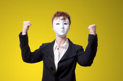 Strong business woman with white mask Royalty Free Stock Images