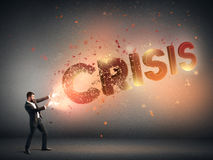 Strong businessman destroying crisis Stock Images