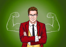 Strong Businessman in  glasses in comic style.Success .Worker. Stock Image