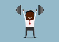 Strong businessman lifting heavy barbell Stock Photography
