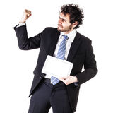Strong businessman and tablet Stock Photo